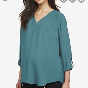 Motherhood Maternity V Neck Blouse in Black